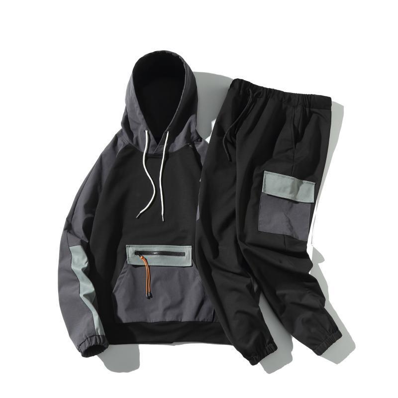 Masculinos dos homens 2021 Homens de outono Hoodies conjuntos Mens Casual Moda Tracksuit Esportes Dois Peça Patchwork Hoodie + Pant Masculino Estudante Suits XXXL