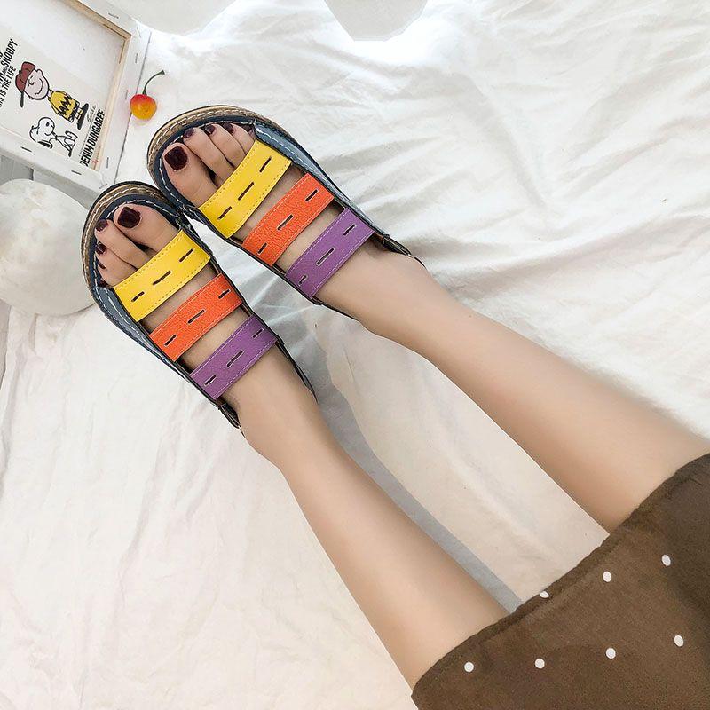 AGESEA jalea de las mujeres Zapatos del arco iris sandalias del verano Mujer zapatos planos Resbalón de las señoras en la playa por la mujer del color del caramelo del dedo del pie del pío de las mujeres