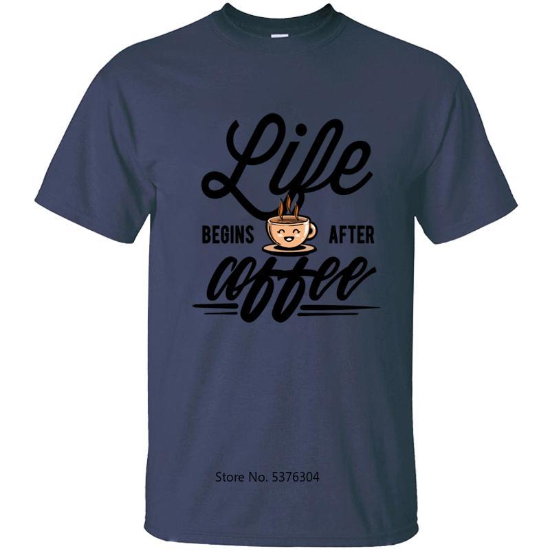 Yüksek Kaliteli Kaffee Bohne Kahve Hayat Başlıyor Erkek Tee Gömlek Unisex Spor Hip Hop için Kahve Erkek Tişört T Gömlek sonra
