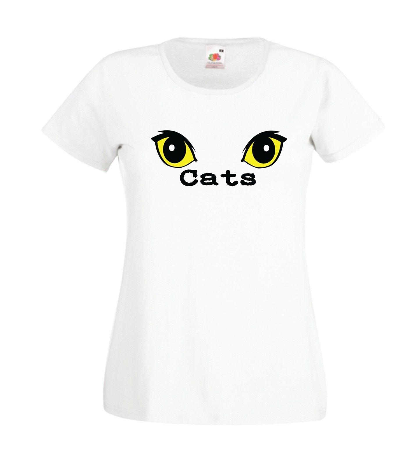 CATS YEUX PET drôle idée de cadeau d'anniversaire de tee chaton de femmes des hommes T-SHIRT TOP Bande dessinée hommes de T-shirt unisexe New tshirt Mode