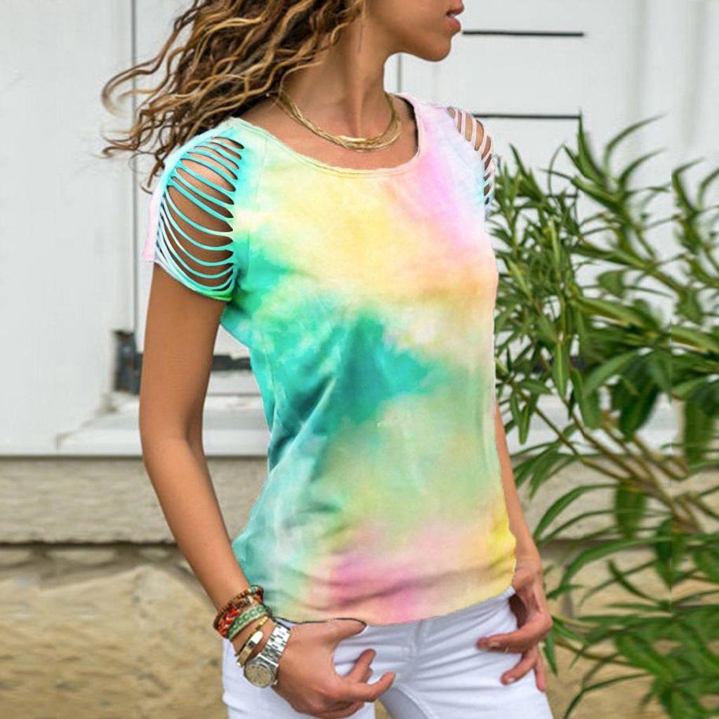 amib4 2020 neuer Frauen-Tie-Dye riss devor-off Schulter kurze Ärmel 2020 neuer Frauen-Tie-Dye riss devor-off T-Shirt Schulter kurzes sleev