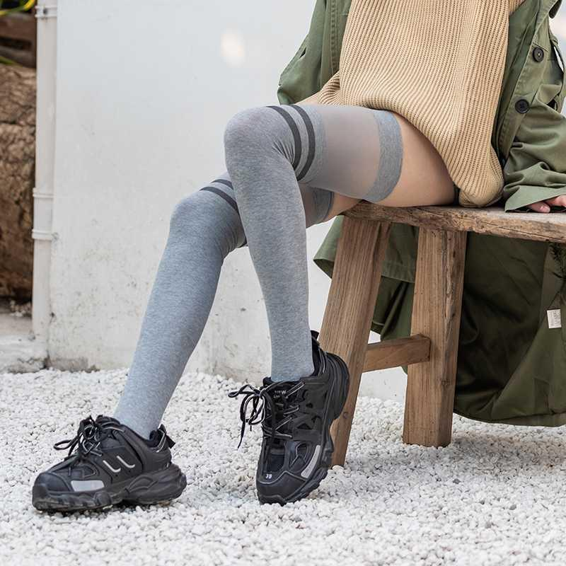 Women Long Stockings Breathable Over-knee High Socks For Lady Sportswear two stripe pattern Gray-Color High Elastic Stockings