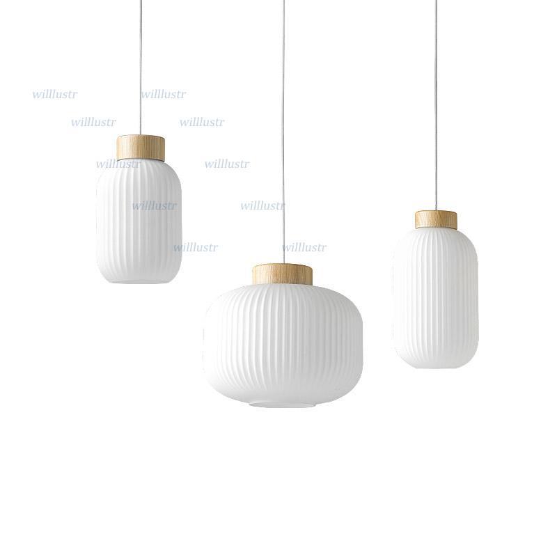 Sospensione di vetro creativa Lanterna Pendant Light Nordic Bianco Lamp Hotel Ristorante Living Sala da pranzo Comodino Loft Legno Illuminazione