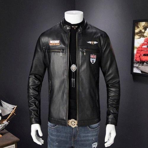 Chaquetas de cuero para hombre de la capa del invierno de los hombres de Otoño Faux abrigos del motorista de la motocicleta masculino clásico de la chaqueta de calidad superior más el tamaño 3XL 7oLD #