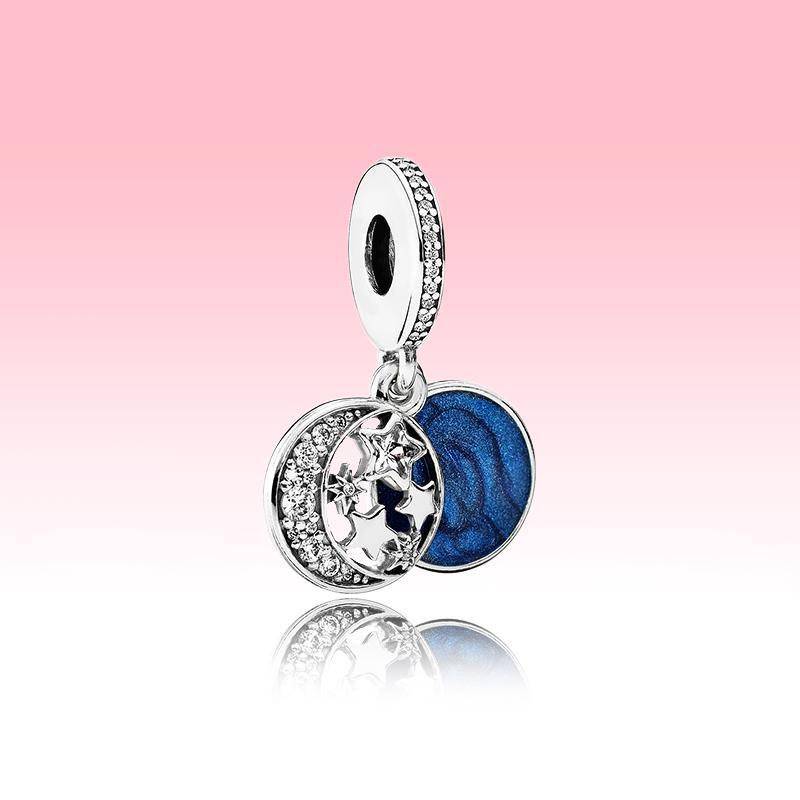Mond-blauer Himmel baumeln Charme-Armband DIY machen Halskette Zubehör für Pandora 925 Sterlingsilber-Charme mit Original-Box-Set