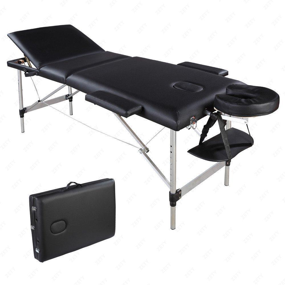 ترقية 3 أقسام طوي الجمال سرير قابلة للطي أنبوب الألومنيوم سبا كمال الاجسام تدليك طاولة كيت
