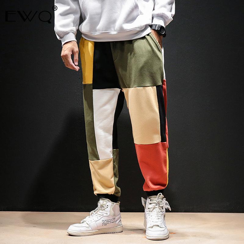 EWQ / المرقعة اللون حريم السراويل الرجال 2020 رجل الشارع الشهير ركض عارضة السراويل ذكر الربيع خمر القطن بنطال رياضة المد 9A379
