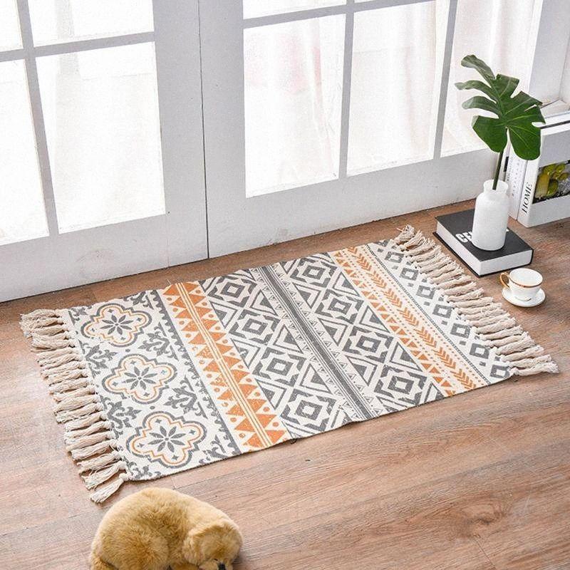 Retro Bohemian Mão Tecidos de algodão Linho Tapete Tapete de cabeceira tapete Geometric Tapete Sala Quarto Tapete Home Decor uACy #