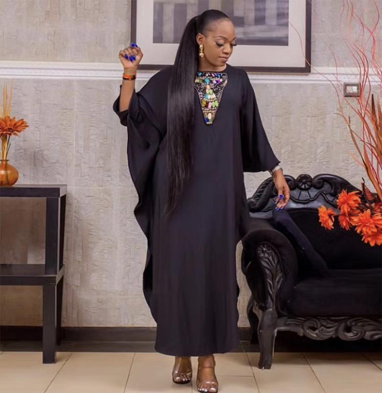 Etnik Giyim Tam Boy Afrika Moda Kaftan Kadınlar Maxi Elbise Dashiki Artı Boyutu Dubai Müslüman Giyim Elbiseler