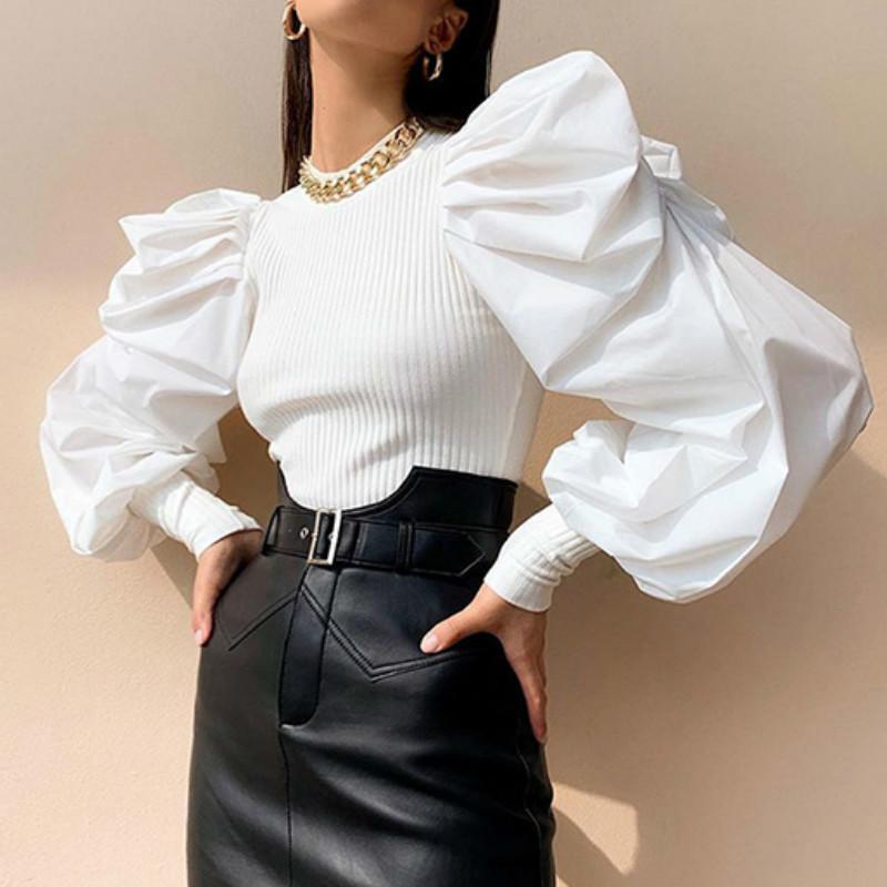 Mujer largo retro soplo de la manga de la blusa camisas Primavera Otoño Negro Blanco Sólido Moda Mujer Blusas y Tops Ropa T200803