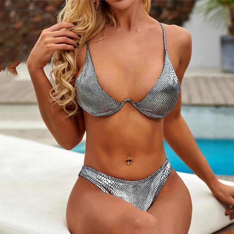 2020 Pu Parlak Yılan Baskı Push Up Bikini Kadın Mayo Kadınlar Yüksek Kesim Mayo V Şekli Kablolu Bikini Seti Brezilyalı Mayo