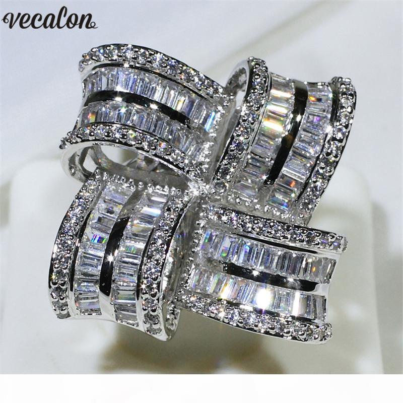 anéis da faixa Vecalon Luxo Big Flower promessa anel de prata esterlina 925 casamento de noivado de diamante para mulheres homens Dedo Jóias