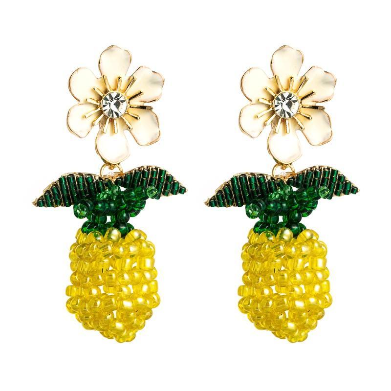 Declaração Multi Color Rhinestone Dangle Brincos de luxo Fruit ananás Cereja, Morango Brinco Pendente menina Acessório Jóias