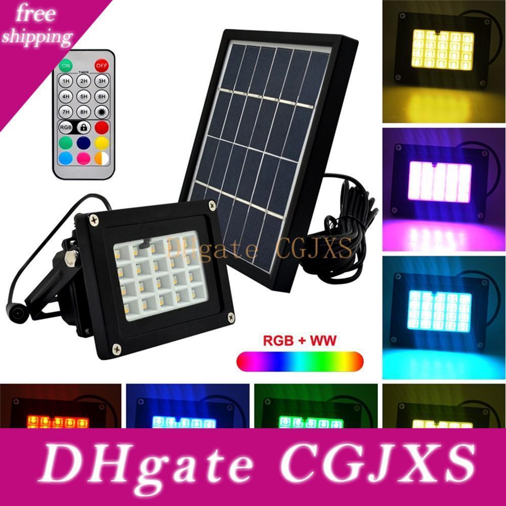 10pcs Remote Control 20leds RGBW SMD5050 6v 3w solaire Led Projecteur Lampe extérieure Square Garden Spotlight