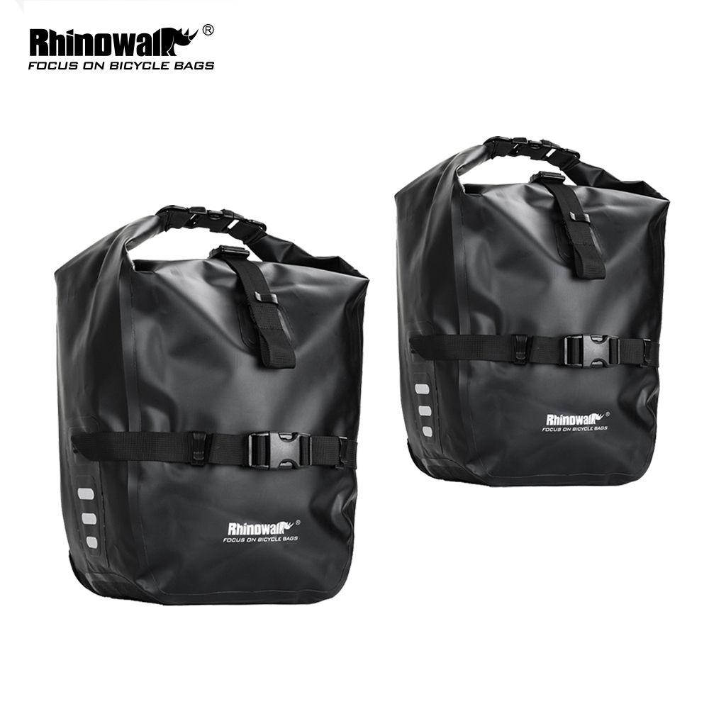 Rhinowalk 2 Pieces 20L Bicycle Pannier Bag Bike Accessories Waterproof Portable Bike Bag Trunk Pack Cycling Travel Cycling Bag MX200717