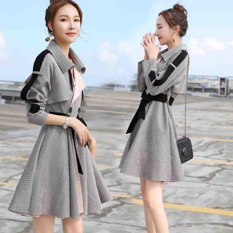 OKezN 2020 casaco de Mulheres Spring Windbreaker New coreano slim fit emagrecimento temperamento manga longa estilo do pássaro do estilo da saia pequena blusão coa