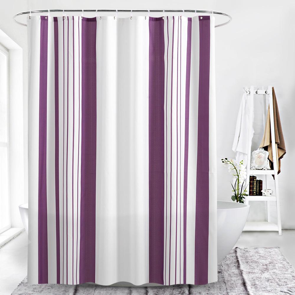 rayas verticales de color púrpura de impresión digital de cortinas de baño engrosamiento impermeable para cuarto de baño con accesorios de plástico broche de baño para baño