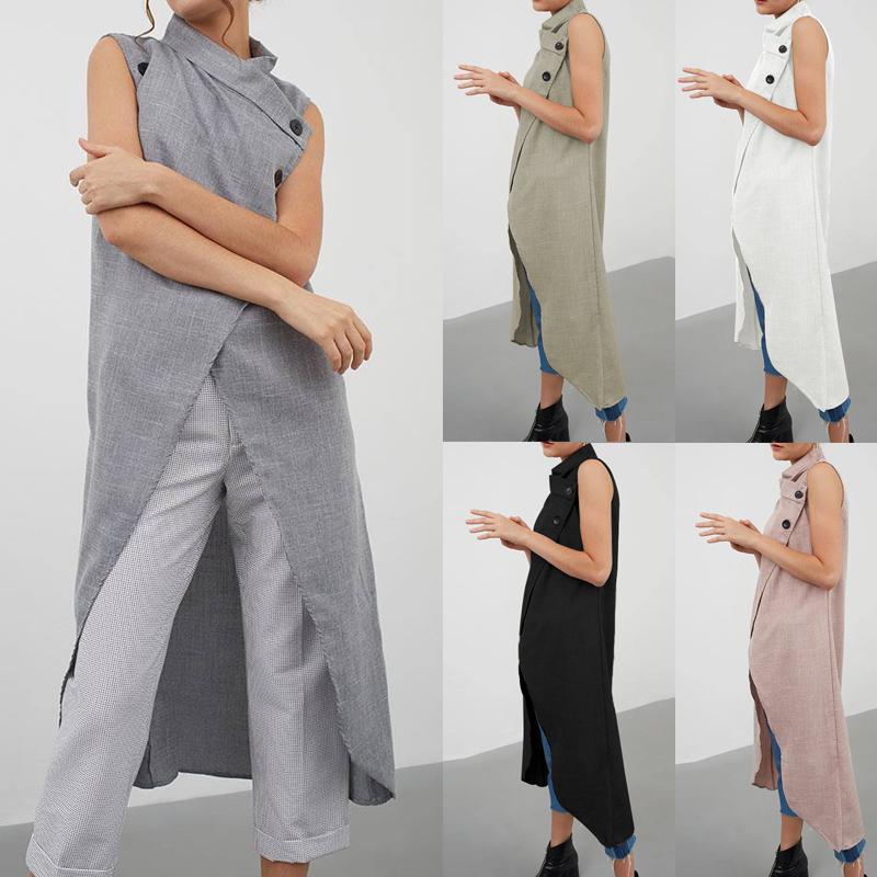 Celmia mujeres retro de la blusa asimétrica de las tapas del botón del verano sin mangas de la túnica de Down floja ocasional de Split larga camisa más el tamaño de Blusas Y200622
