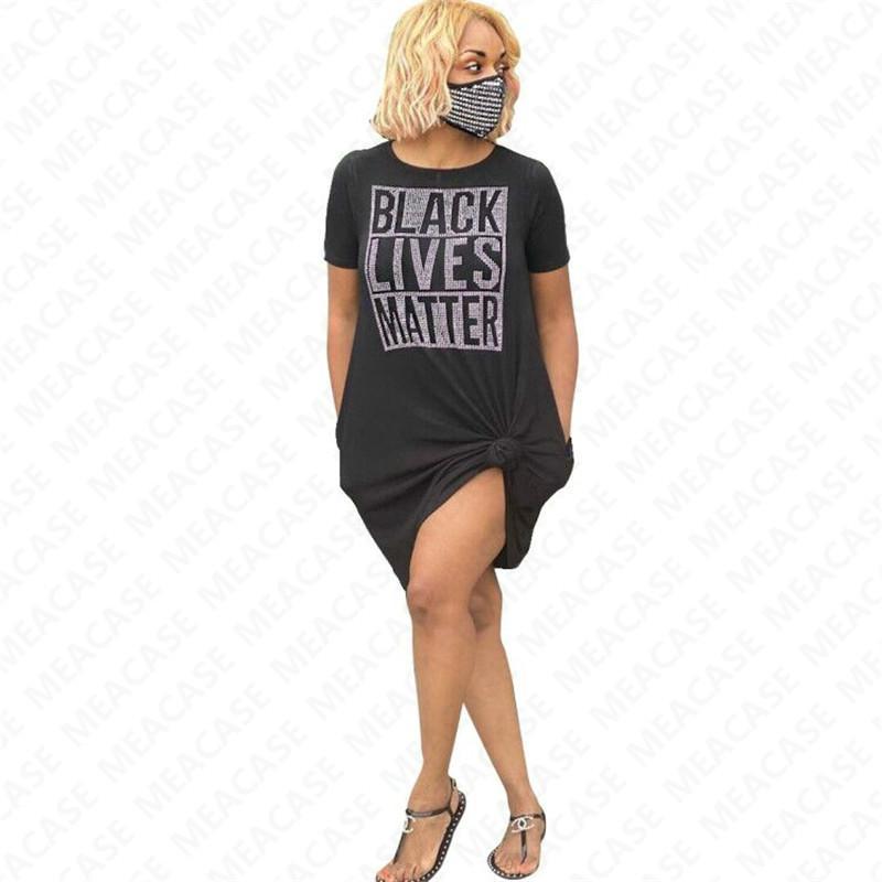 NEGRO VIVE LA MATERIA Carta camiseta de gran tamaño de la camiseta del verano vestido te floja Cubrir con los vestidos de diseño de paquetes Moda Vestimenta informal 2,020 D7210