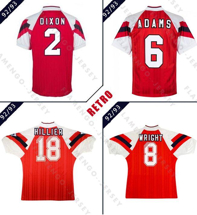 1992 1993 arsen Ian Wright Tony Adams retro soccer jersey 92 93 Dixon Campbell Merson Smith classic vintage football shirt