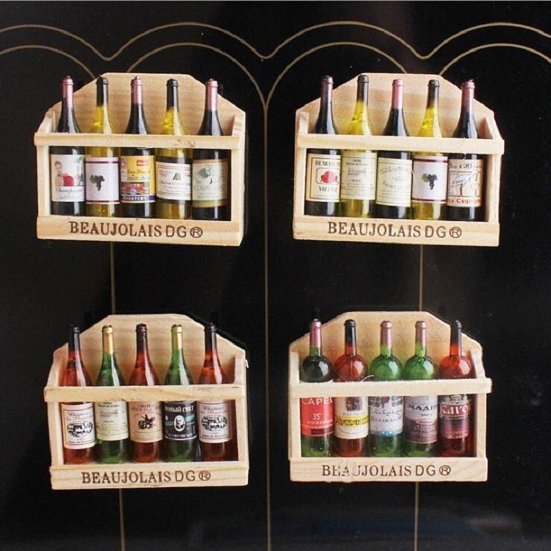 3D смазливый Вуд держатель бутылки вина холодильник магниты для детей Домашнего украшения орнаментов фигурок Игрушки для малышей 6QRg #