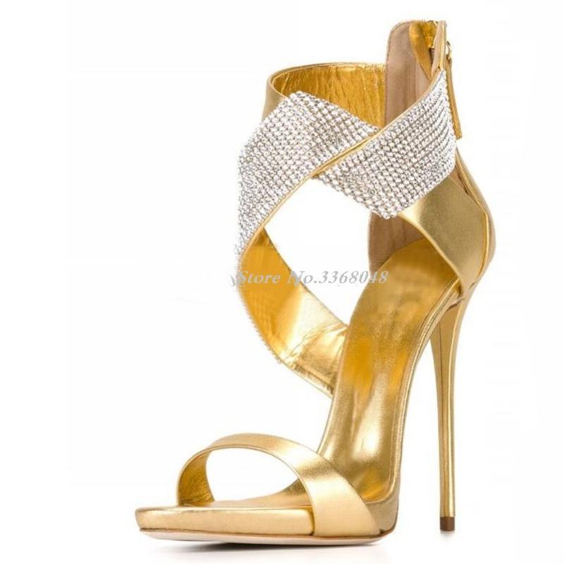 Vendedora caliente de la manera del oro del ante de los talones de estilete sandalias de cuero de plata de Bling Bling Zapatos con cuentas vestido del abrigo del tobillo para la mujer