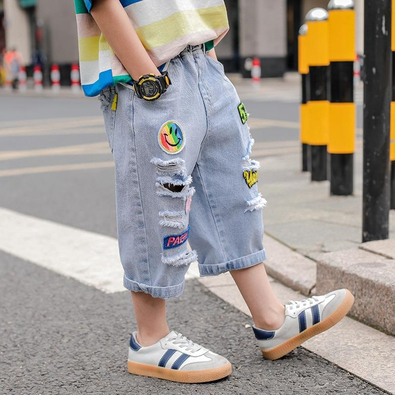 8jbRb vêtements d'été 2020 nouveaux pantalons longueur cheville grand trou de visage souriant enfants de mode de vêtements pour enfants les hommes de style occidental denim cro