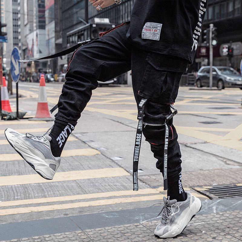 Schwarz Freizeit Hip-Hop Hosen der Männer Street Baumwolle Trainingshose Männer 2020 Frühlings-Qualitäts-Jogginghose Männer lange Hosen
