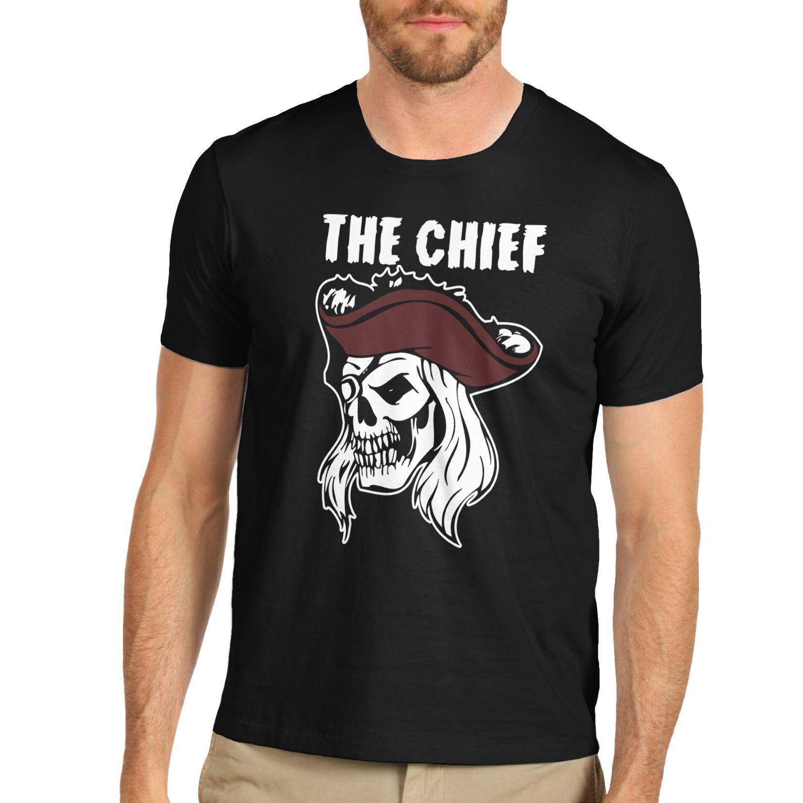 Cráneo del pirata El Jefe Premium hombre camiseta de algodón Enfriar orgullo casual hombres de la camiseta unisex del nuevo de la manera camiseta superior floja del tamaño