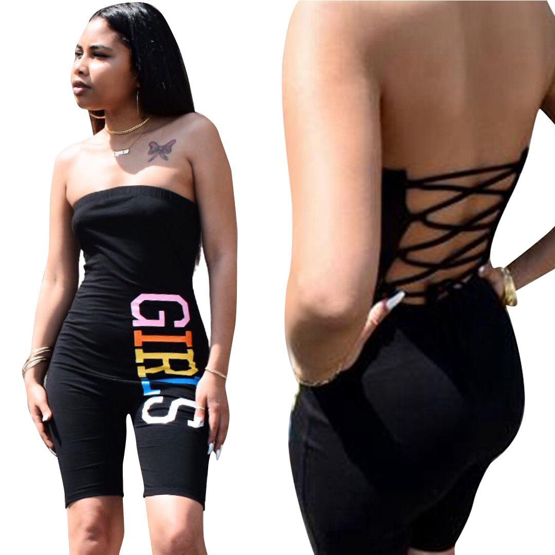 2020 Neue Kleidung Günstige China Großhandel europäischen und amerikanischen Frauen-Overall-Spielanzug Sexy Buchstabedruckes Halfter trägerlos Schlauchober jumpsu