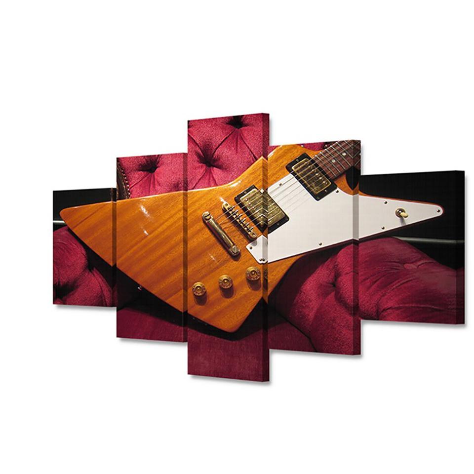 HD imprimés Peintures murales modulaire Art Affiches 5 pièces / Pcs Guitare Instruments de musique moderne Décoration d'intérieur Tableau Photos Toile