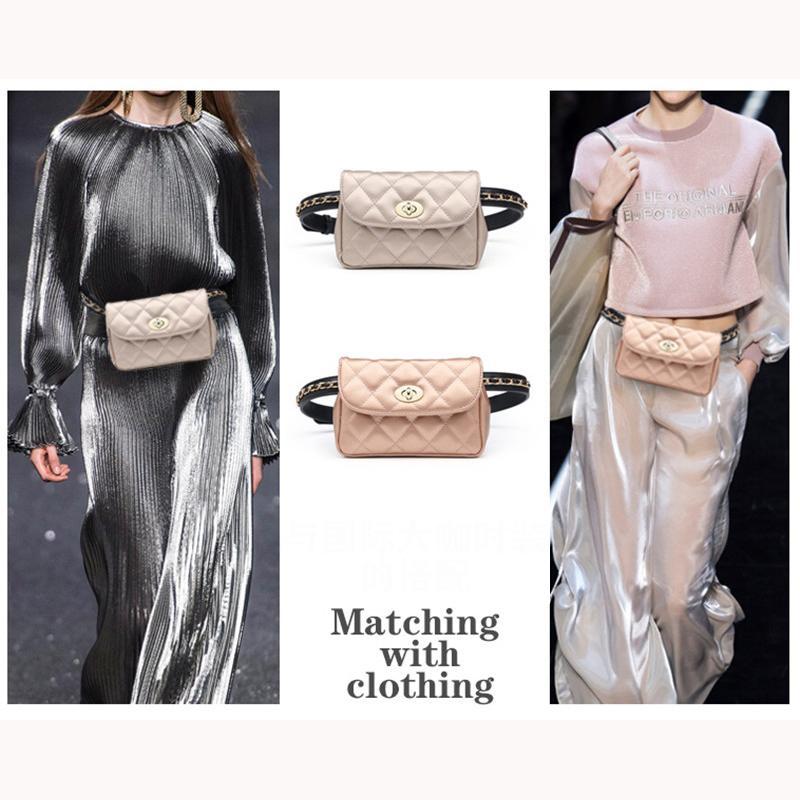 Mihaivina New Style Fashion Bum Fanny For Women Leather Belt Bags Female Plaid Chain Waist Pack Shoulder Pocket Hip Bag MX200717