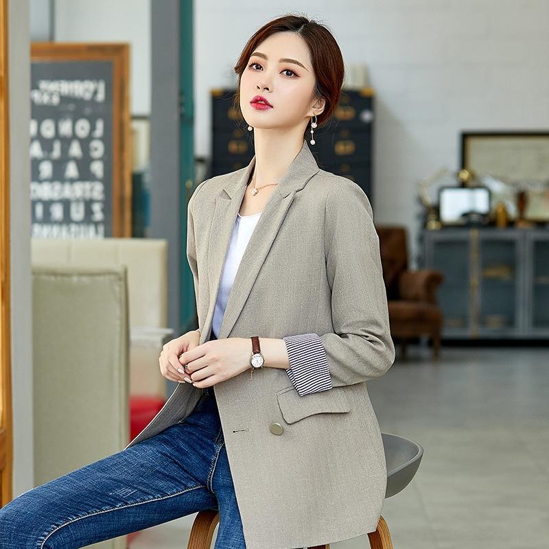 SdQeV Small Anzug britischer Stil Frauen Herbstmantel zweireihige halbe Länge der neuen koreanische Art Normallack beiläufiger loser Mantel Anzug