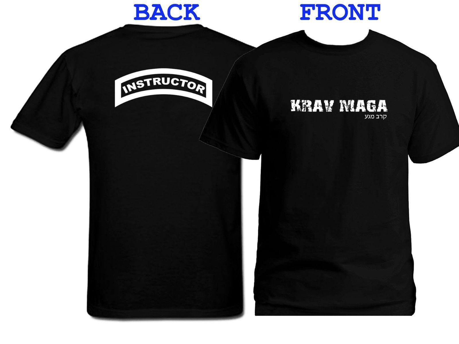 2019 novo personalizado Krav Maga olhar afligido Frente Verso impressão Preto T-shirt Us 5XL Camiseta