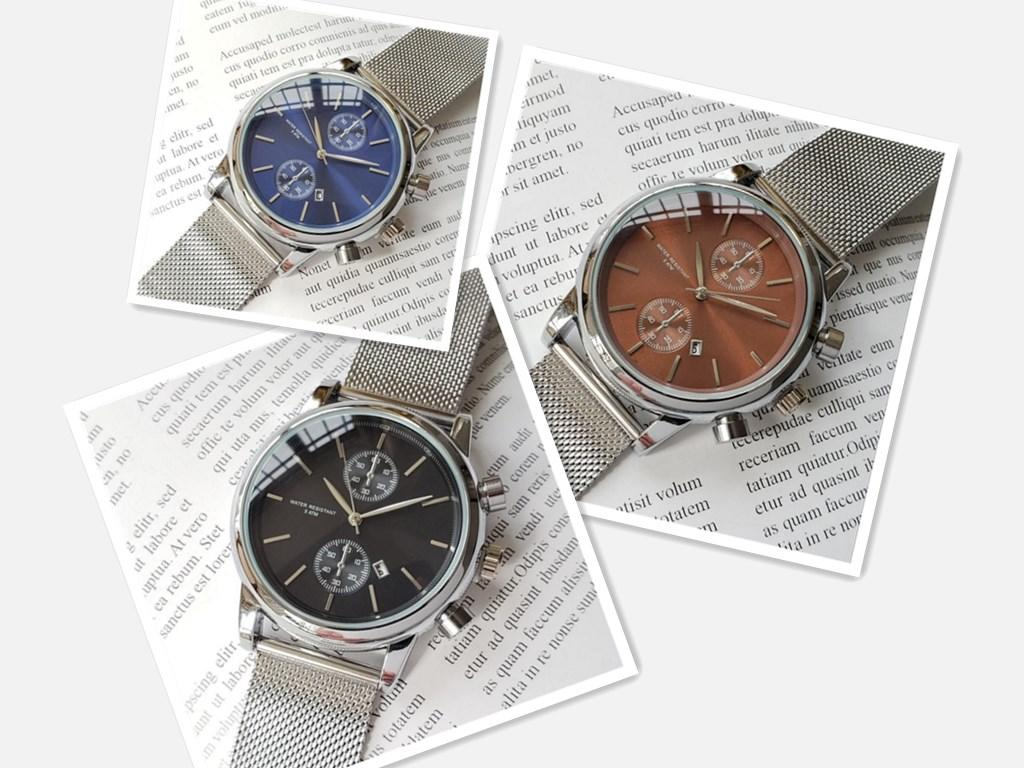 The latest personalized luxury men's watch stainless steel mesh watch with round dial leisure business men's clock