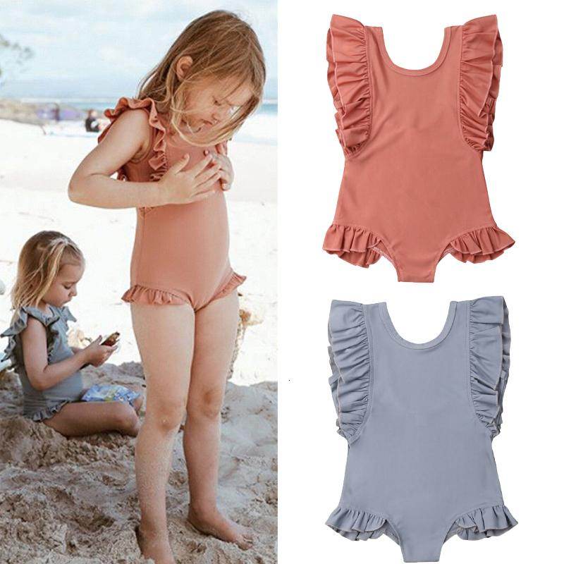 Holiday Cute Toddler Kids Baby Girl Swimwear Ruffles Sleeve Solid Jumpsuits Summer Swimsuit Bathing Suit Swimming Clothes