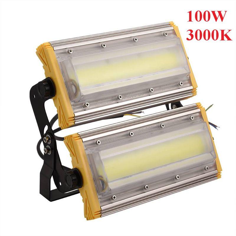 UK Modulo LED della proiettore 100W di inondazione impermeabile di luce 3000K bianco caldo giallo di fissaggio 2 moduli di alta luminose LED luci del tunnel