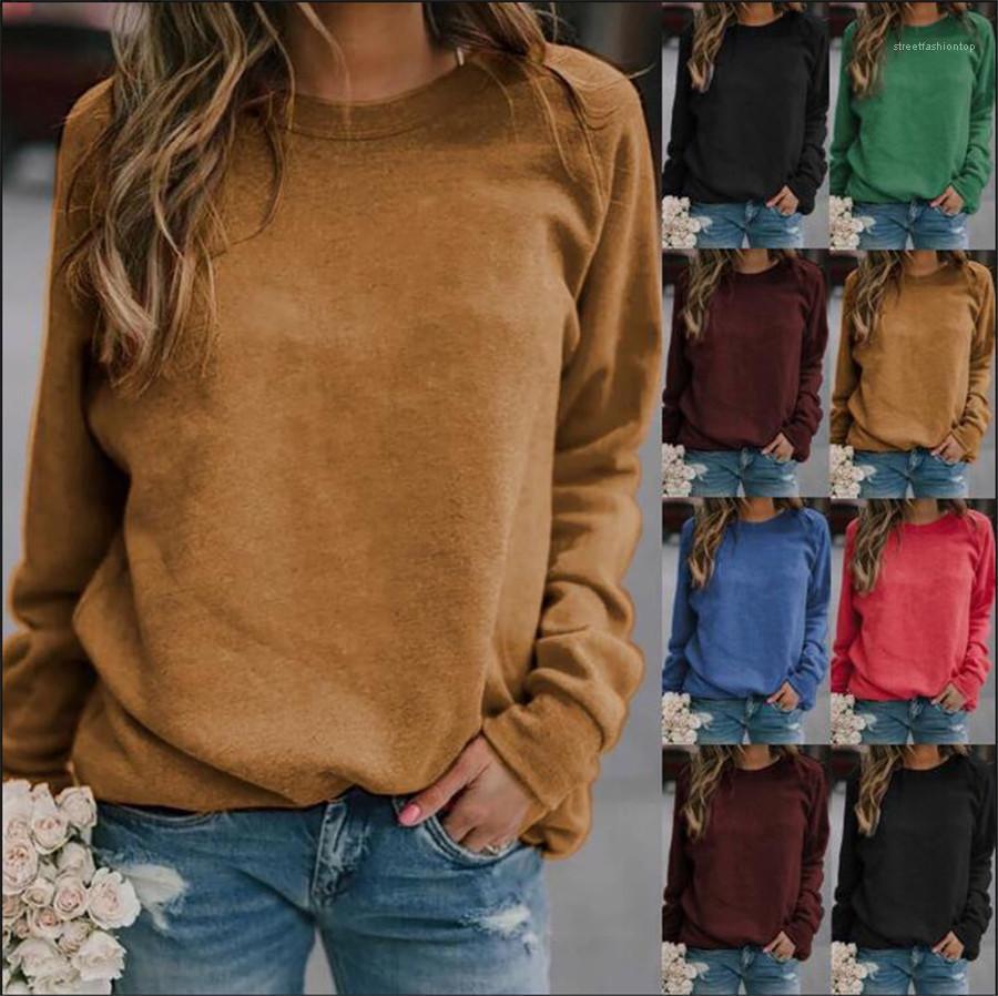 Para mujer camisetas de otoño invierno camisetas de manga larga con cuello redondo de las señoras flojas tops casuales color sólido Streetstyler Mujer