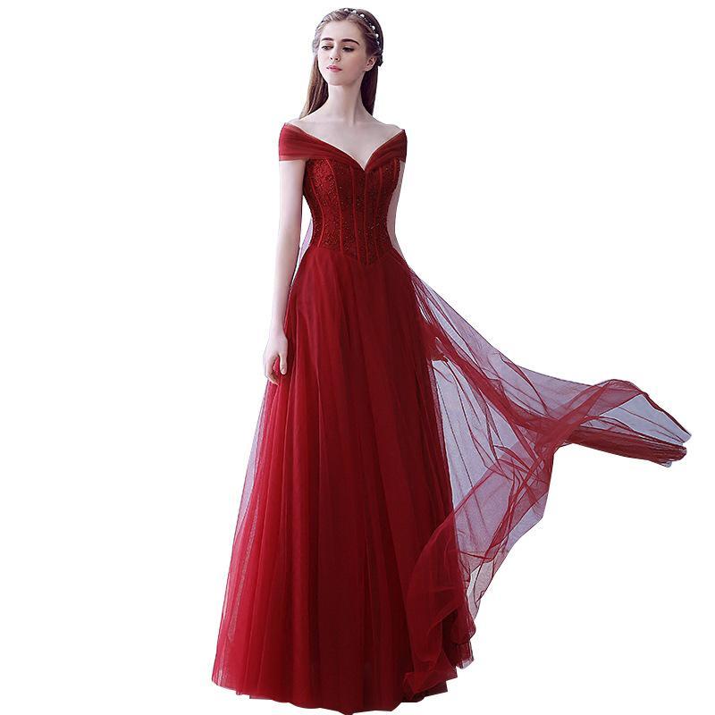 2020 Новое Прибытие Свадебные платья Односпокоительное Красное V-образное вырезовое вечернее платье вечернее платье невесты Топеревая костюм Горячие продажи