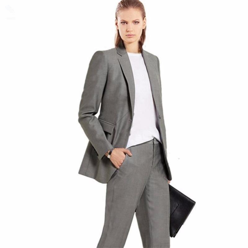 Uniforme de la boda que iguala adapta a la chaqueta + pantalones mujeres de negocios gris solo pecho Oficina formal hembra juego de las señoras pantalones Set W70