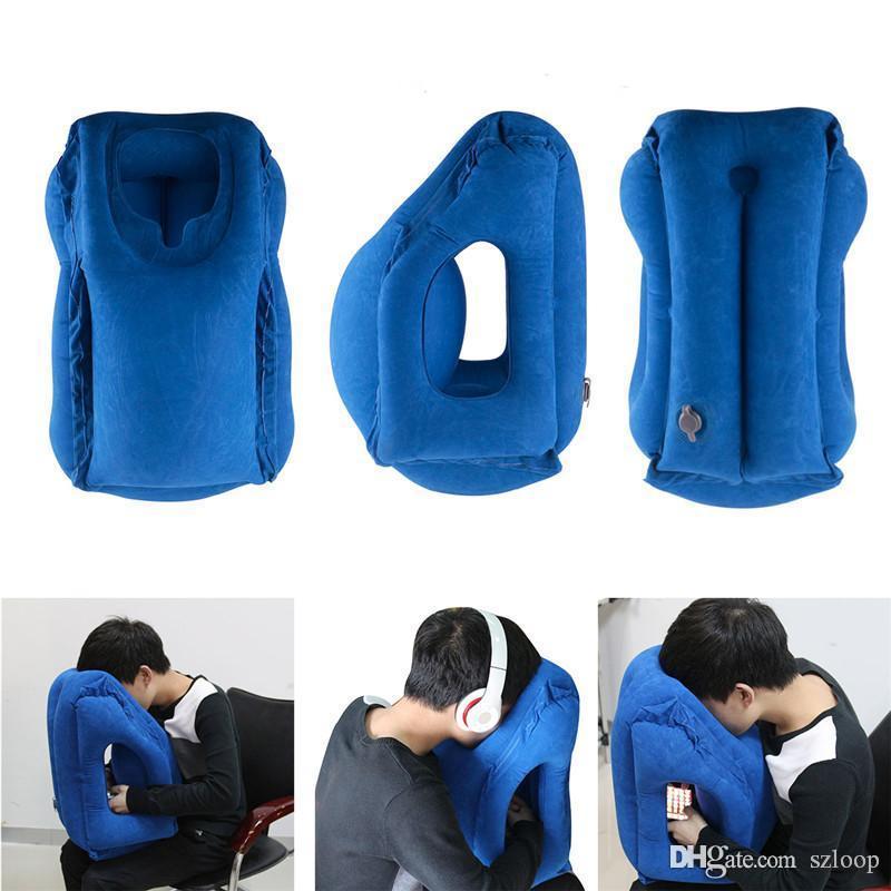 Almofada inflável travesseiro de viagem mais diversas Innovative Pillow para viajar Avião Almofadas Neck Chin cabeça de suporte DHL