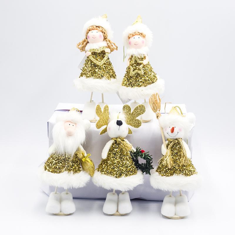 Kawaii Ornament Puppe-Engels-Mädchen-Junge-Weihnachtsmann-Anhänger Weihnachtsbaum-Dekoration für Heim Xmas Party-Dekor-Kind-Geschenk