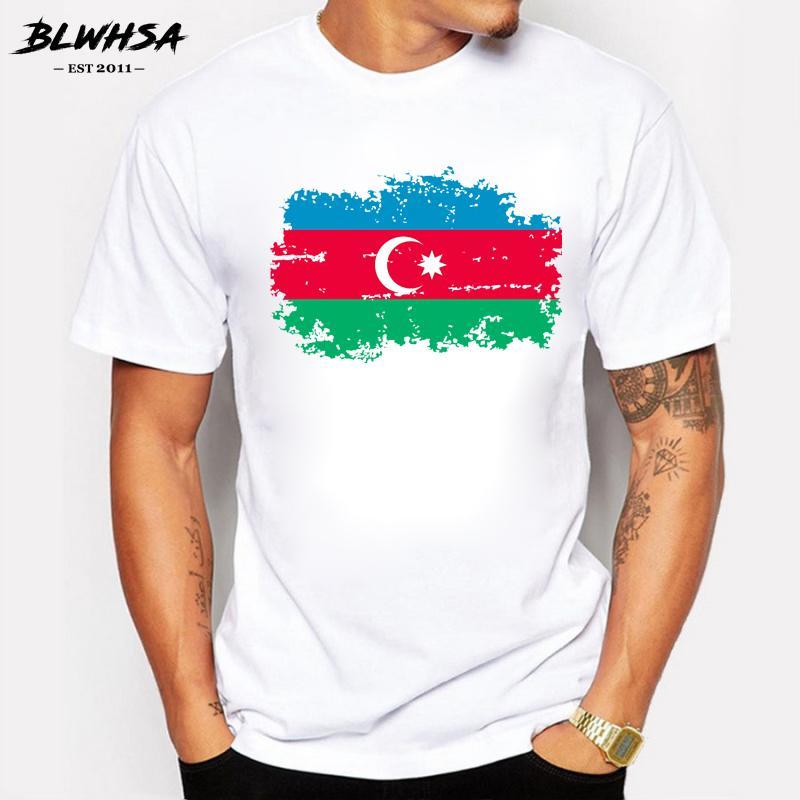 Erkekler Hayranları için Azerbaycan Nostalji Bayrak T shirt Erkekler Yaz Kısa Kollu Pamuk Kişilik Tasarım T-shirt Cheer Tee Tops
