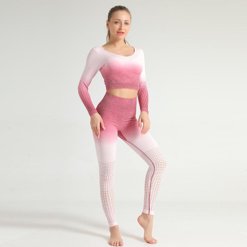 Mujeres 2 trajes Pcs Deportes Set Juegos de Yoga aptitud de la gimnasia de elevación de deporte pantalones deportivos polainas camisa sin costuras Sports Active