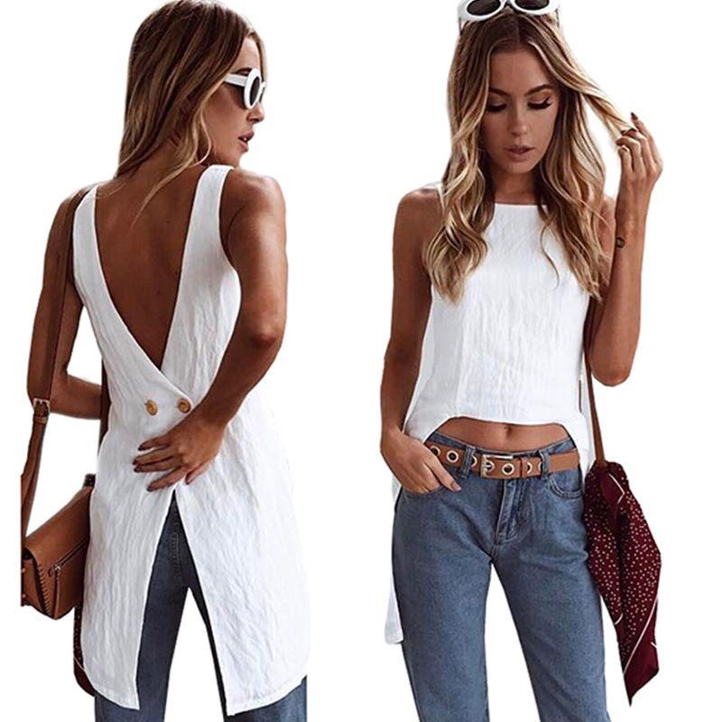 BKLD Fashion Women's Casual O-Neck Sleeveless Irregular Long Shirt Ladies Backless White Tshirt Womens Tops 2020 Summer Harajuku