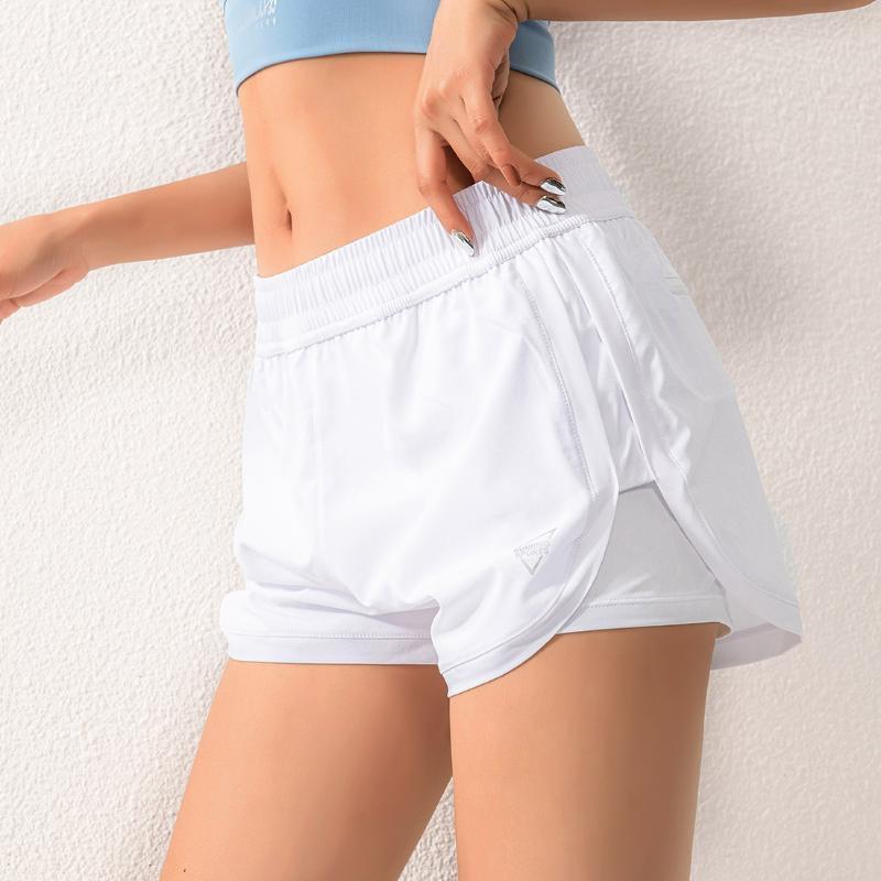 Donne Anti-Glare Pantaloncini Quick Dry doppio strato jogging Sport pantaloncini estivi Yoga fitness esecuzione respirazione