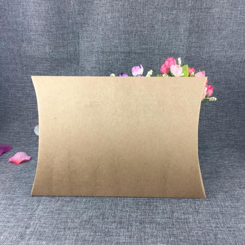 10pcs Big Size Kraft Paper Gift Box Blank Pillow Box Shape Wedding Favor Party Decor Christmas Gift Clothes Packaging 8O1T#