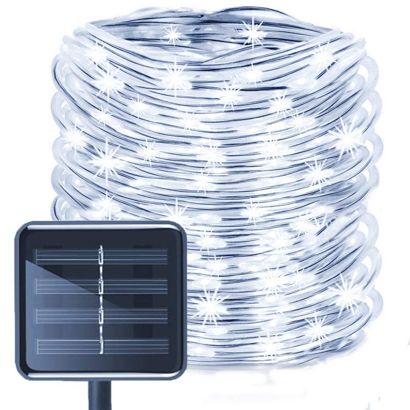 Solar Rope String Lights,50LED Waterproof Copper Wire Lights Tube 23ft, Outdoor Rope Lights for Christmas Garden Yard Path Fence Tree Party