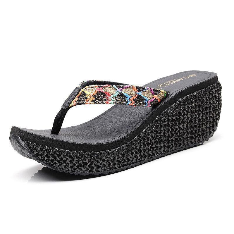 2020 Nueva tacón alto Mar Ocio y vacaciones de las sandalias de la manera usan Slip playa zapatos para mujer de verano y no Slippers239c #
