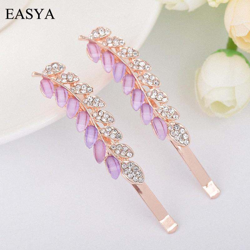 EASYA heiße Verkaufs-Kristallrhinestone-Blatt Hairwear Hairpin Metall elegantes Design Haar-Klipp für Frauen-Mädchen-Haar-Zusätze N6oB #